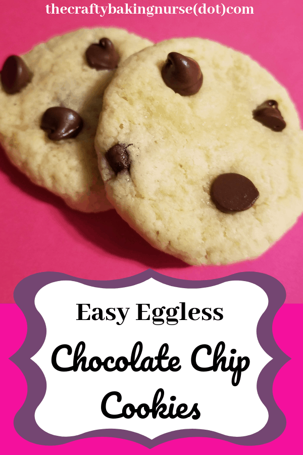 Easy eggless chocolate chip cookies are chewy and sweet.  They take 15 minutes to make, or 5 if you only want edible cookie dough.