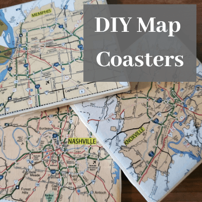 """3 coasters with  maps of Nashville Tennessee, Memphis Tennessee and Knoxville Tennessee with the text """"DIY Map Coasters"""""""