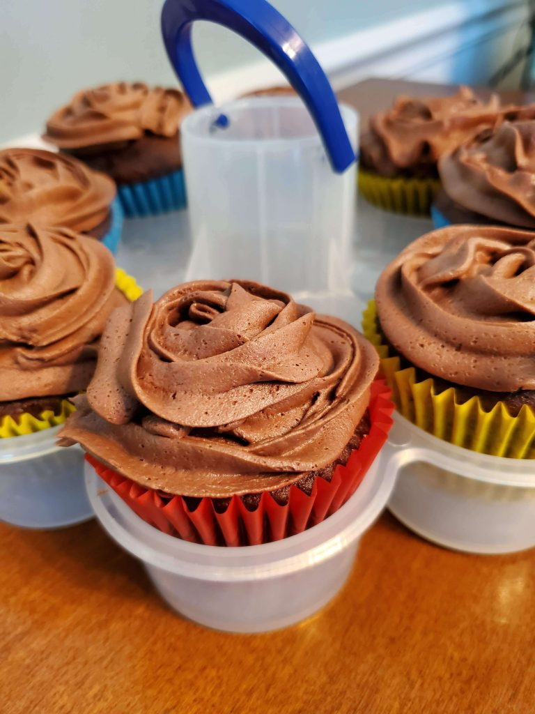 Chocolate cupcakes in cupcake caddy