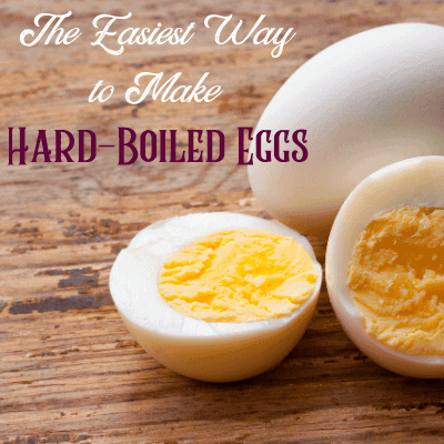 Easiest way to hard-boil eggs text with picture of hard-boiled eggs
